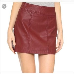 Free People Womens Vegan Leather Mini Skirt Size 6
